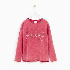 Zara girls pink shirt with embroidered pearls